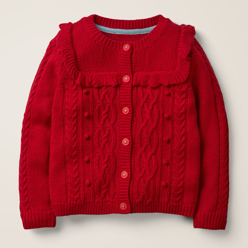 Boden Cable Cardigan - Rockabilly Red