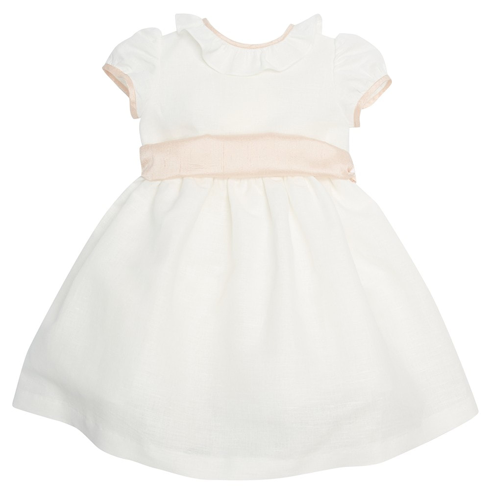 Pepa & Co Flower Girl White Dress with Pink Silk Sash