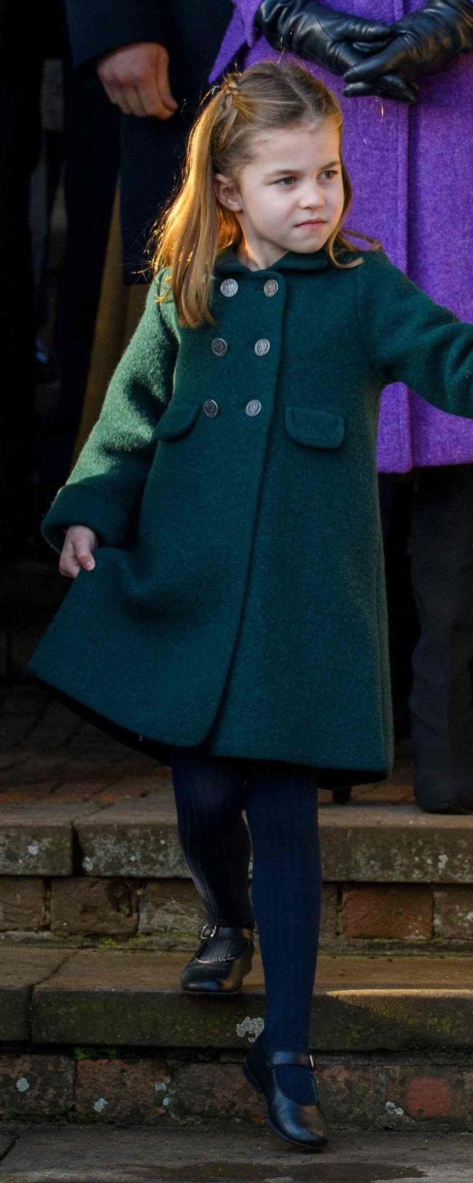 Princess Charlotte wears Amaia Kids Navy Mary Jane Shoes