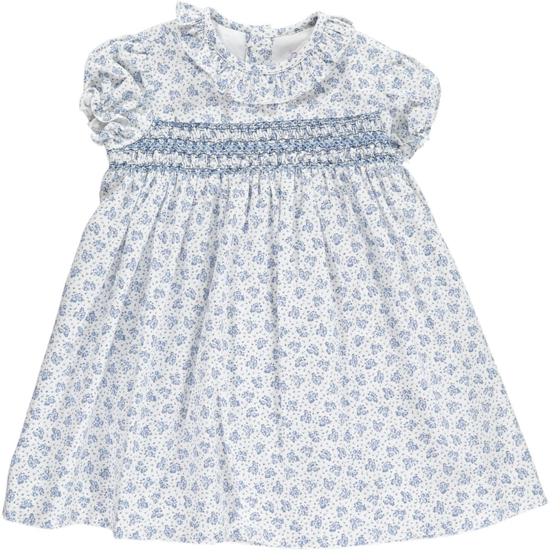 Amaia Kids 'Shirley' Blue Floral Print Smock Dress