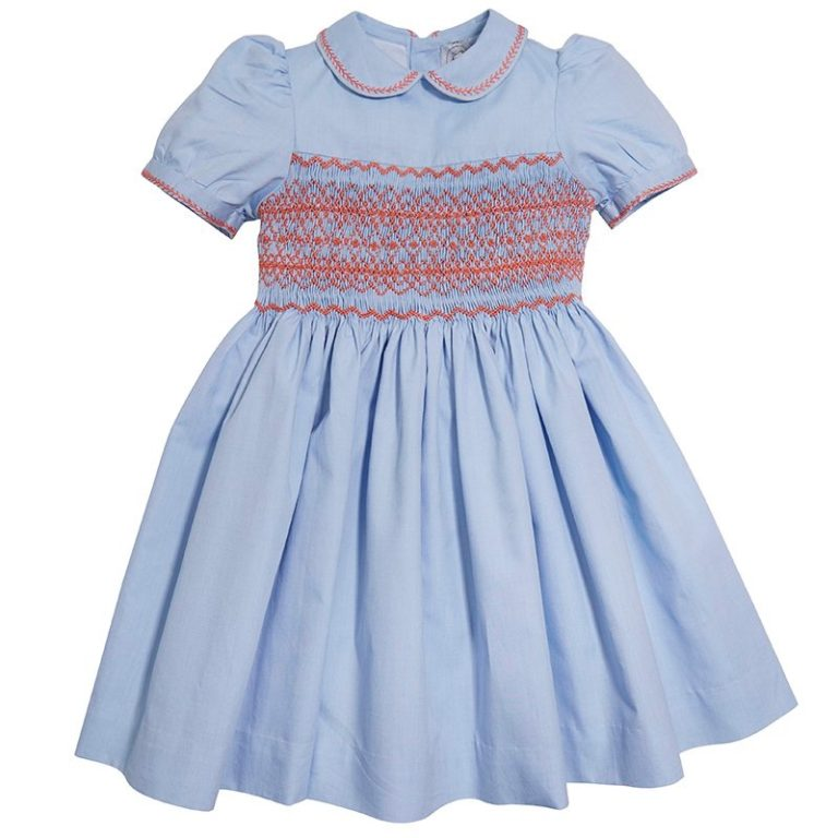 Pepa & Co Classic Handsmocked Dress - Blue and Coral
