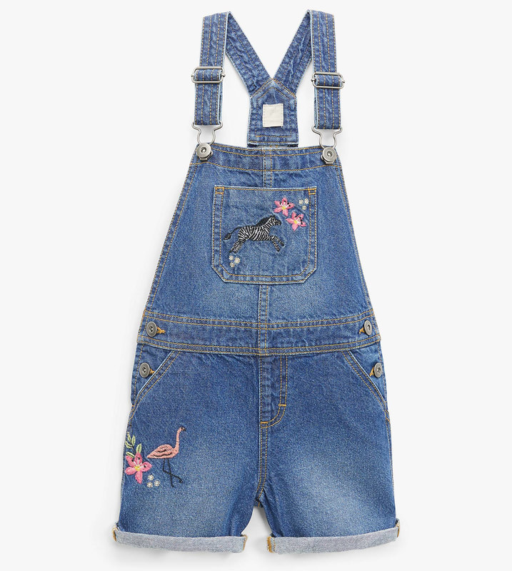 John Lewis Embroidered Dungaree Shorts