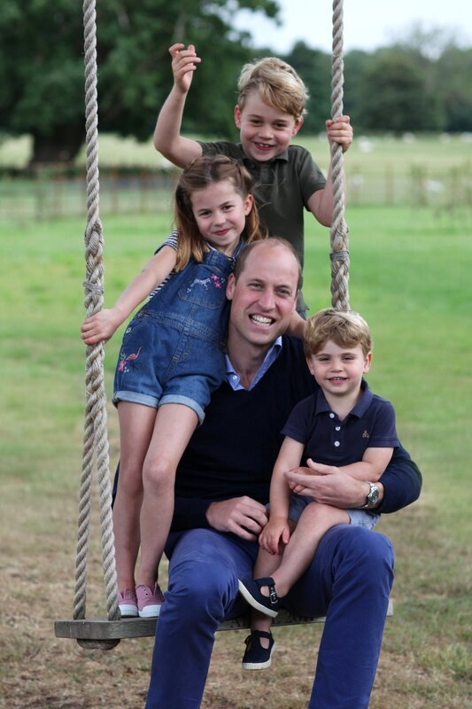 The Duke of Cambridge with Prince George, Princess Charlotte and Prince Louis to mark Prince William's 38th birthday on 21 June 2020